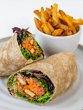 Buffalo Vegan Wrap with Fries.